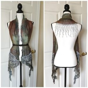 Tie dye embroidered fringed scarf